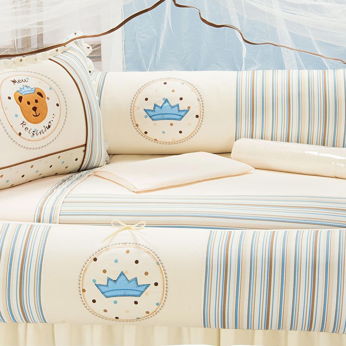 Kit Enxoval / Berço Bebê Reizinho Urso Palha com Listras Azuis com 9 peças Algodão