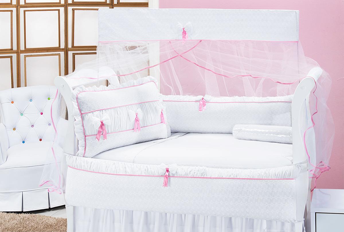 Kit Enxoval / Berço Bebê Ternura com Laços Branco e Rosa com 9 peças Algodão