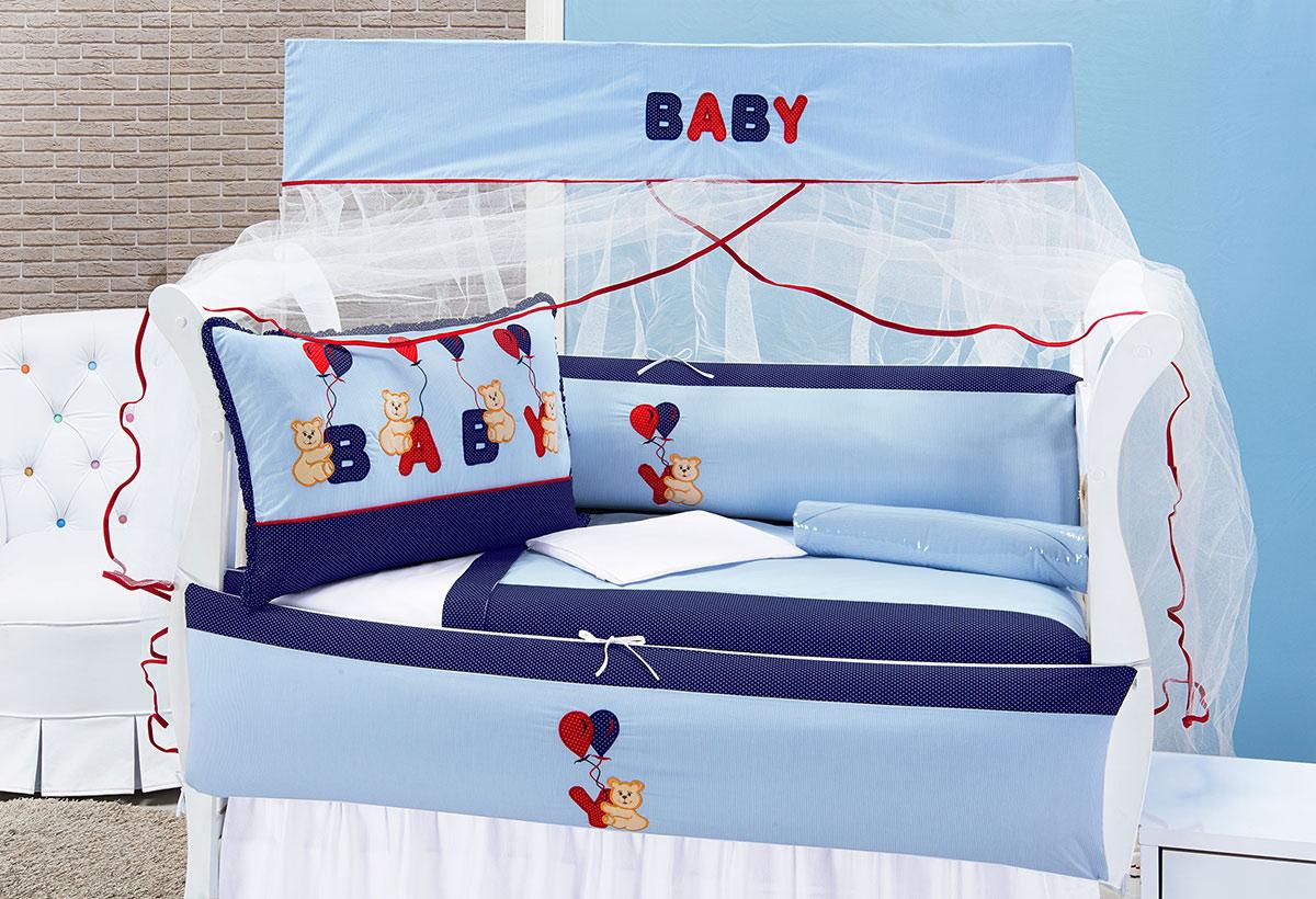Kit Enxoval / Berço Bebê Ursinho Baby Azul com 9 peças Algodão