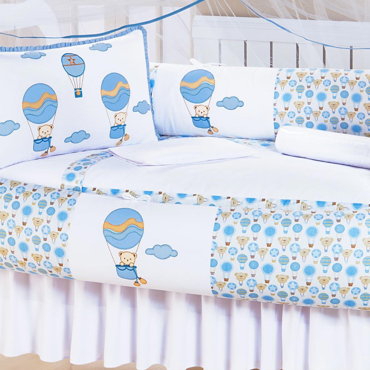 Kit Enxoval / Berço Bebê Ursinho Balão Azul e Branco com 9 peças Algodão