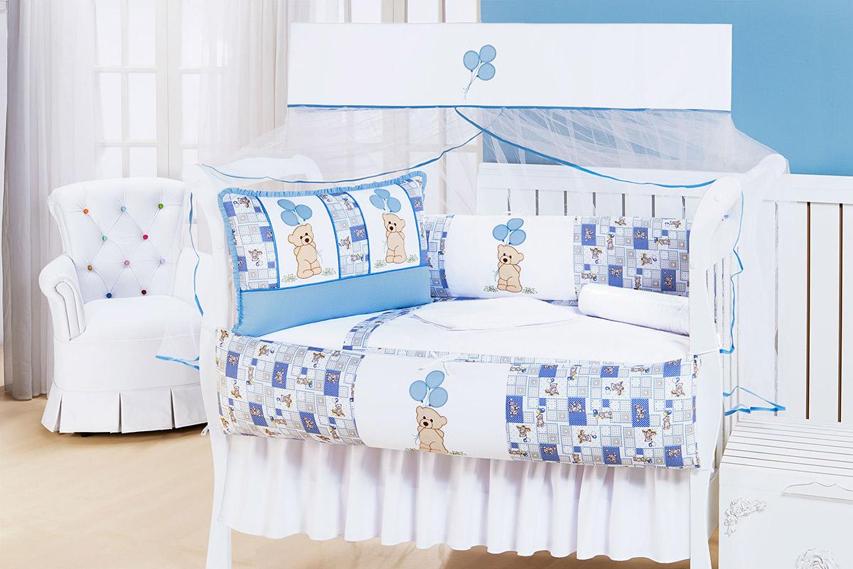 Kit Enxoval / Berço Bebê Ursinho Bexiga Azul e Branco com 9 peças Algodão