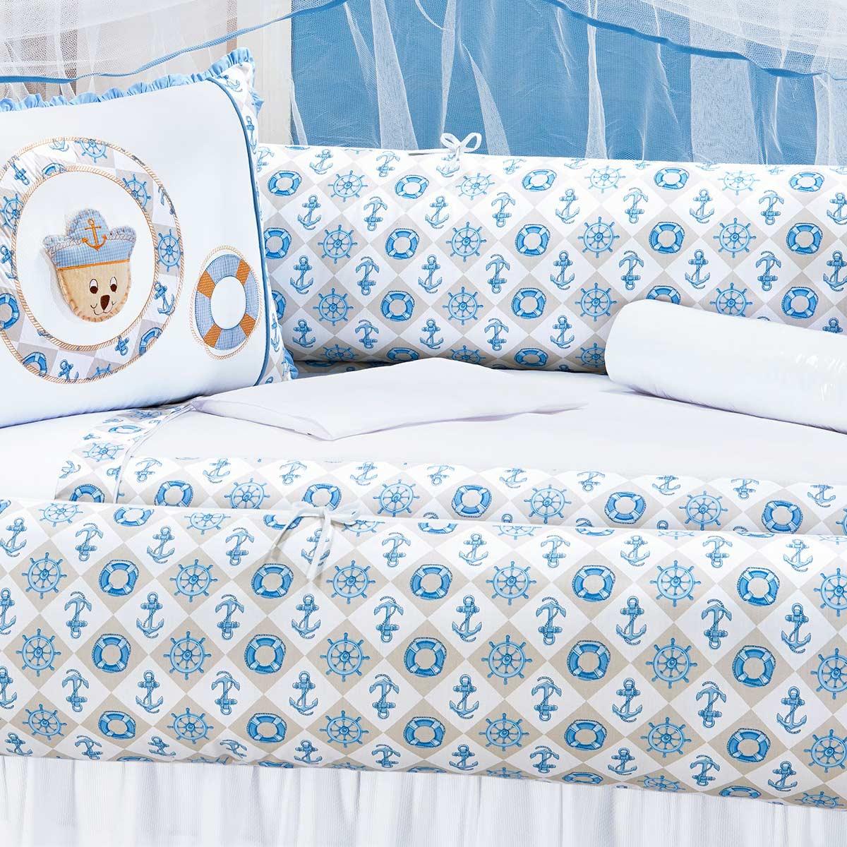 Kit Enxoval / Berço Bebê Ursinho Marinheiro Náutico Azul com 9 peças Algodão