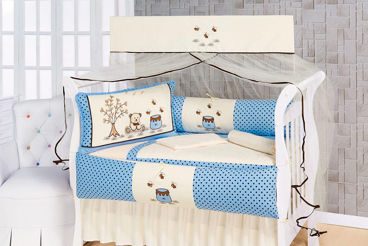 Kit Enxoval / Berço Bebê Ursinho pote de Mel Azul e Palha com 9 peças Algodão