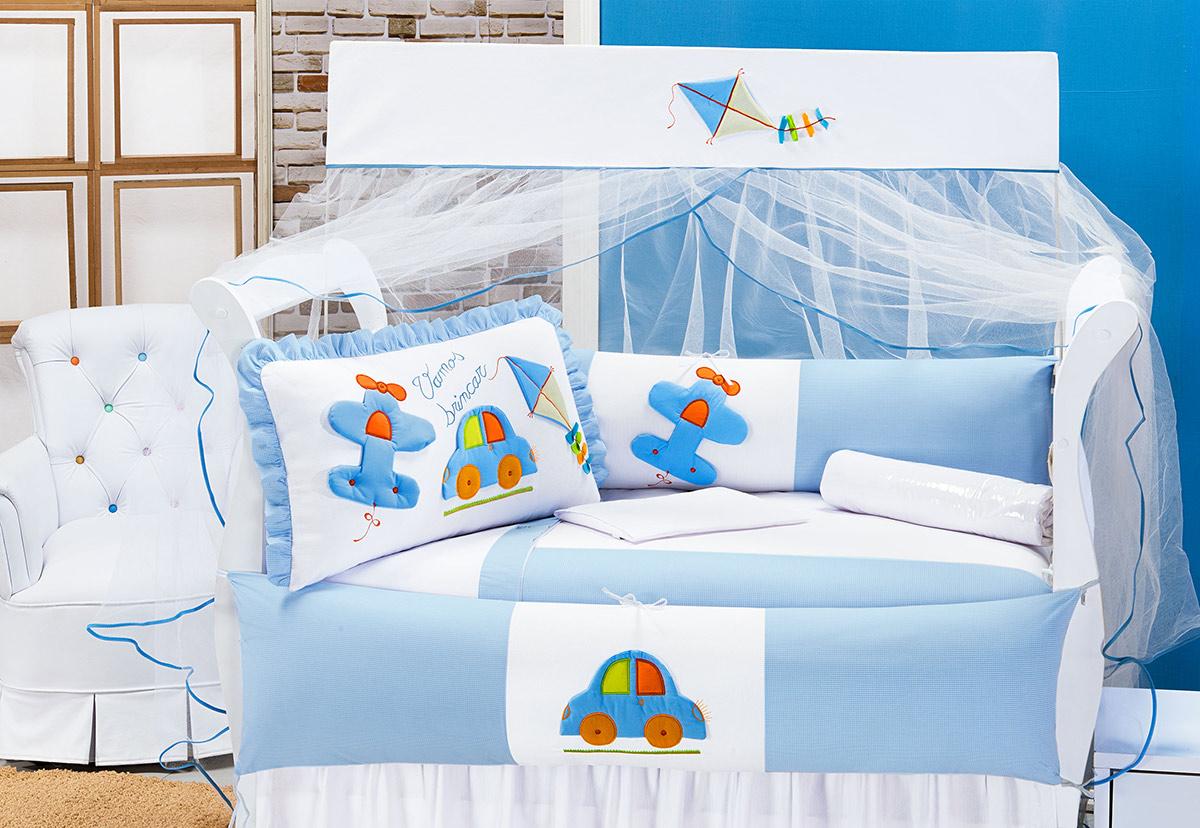 Kit Enxoval / Berço Bebê Vamos Brincar Carrinho e Avião Azul com 9 peças Algodão