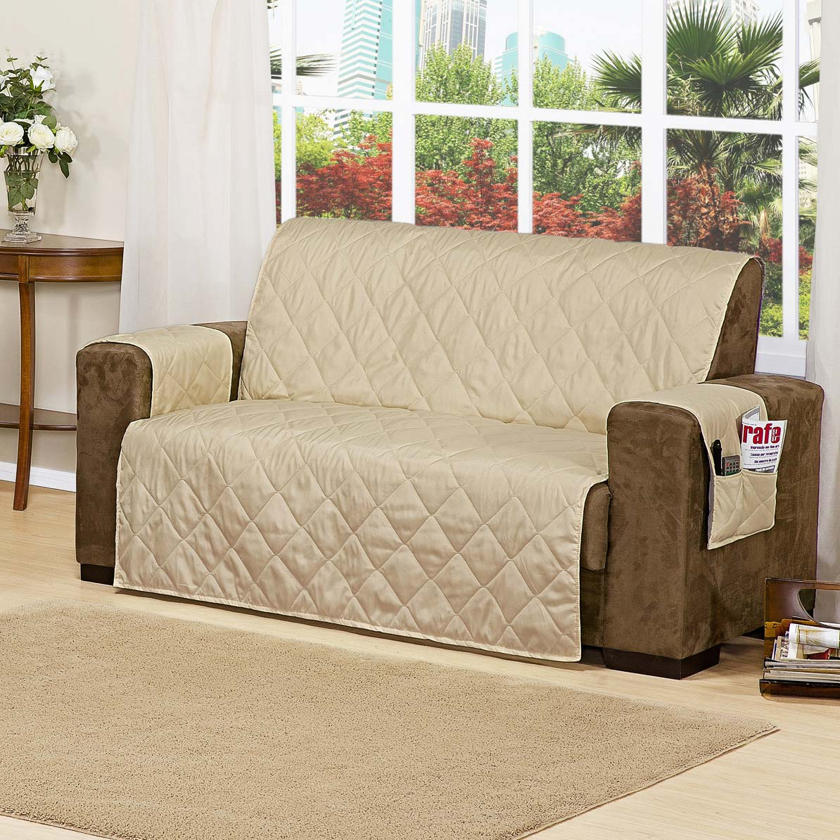 Protetor de sof 2 e 3 lugares bege com 2 pe as tecido - Forro para sofa ...