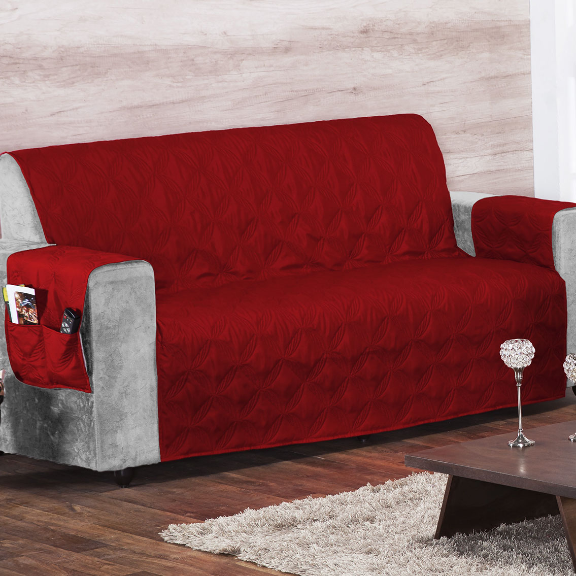 Protetor de Sofá 2 e 3 lugares Vermelho com 2 peças tecido Poliester - Capa para Sofá