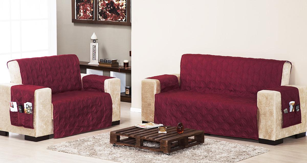 Protetor de Sofá 2 e 3 lugares Vinho com 2 peças tecido Poliester - Capa para Sofá