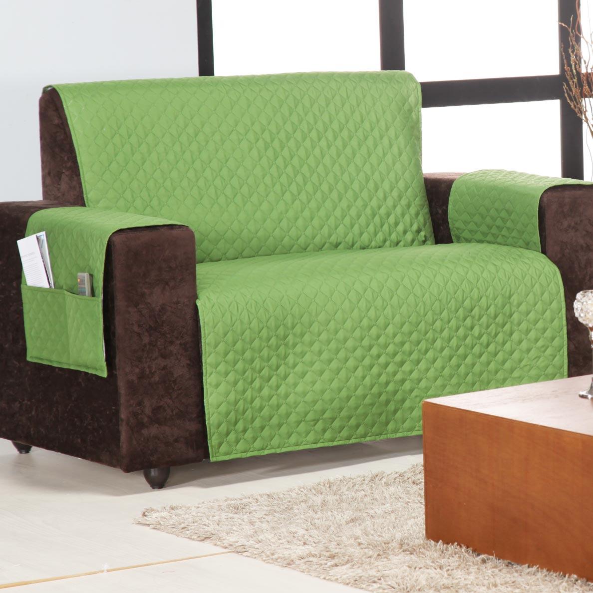 Protetor de Sofá Home 2 e 3 Lugares Verde Musgo Matelado mais duravel com 2 peças