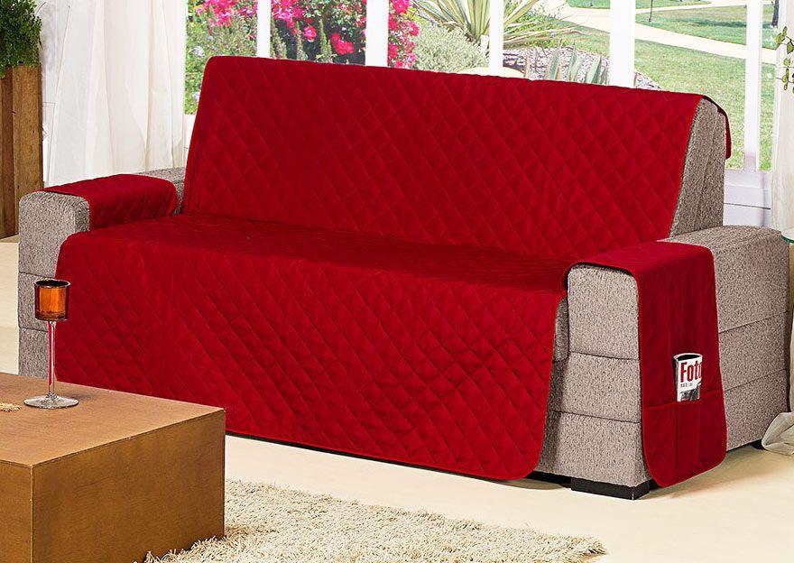 Protetor de Sofá Protetor de Sofá 2 e 3 Lugares Com Porta Controle e Revista cor Vermelho com 2 peças