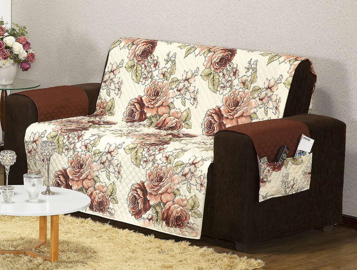 Protetor Estampado Sofá Floral Tabaco com 2 peças