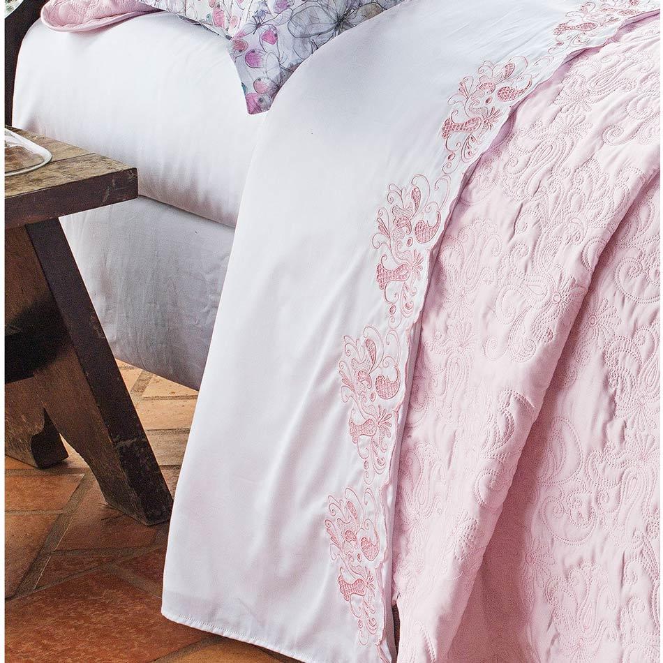Roupa de Cama / Lençol C´ Doró Queen em Fio Egipicio Percal 400 fios cor Rosa e Branco com 4 peças