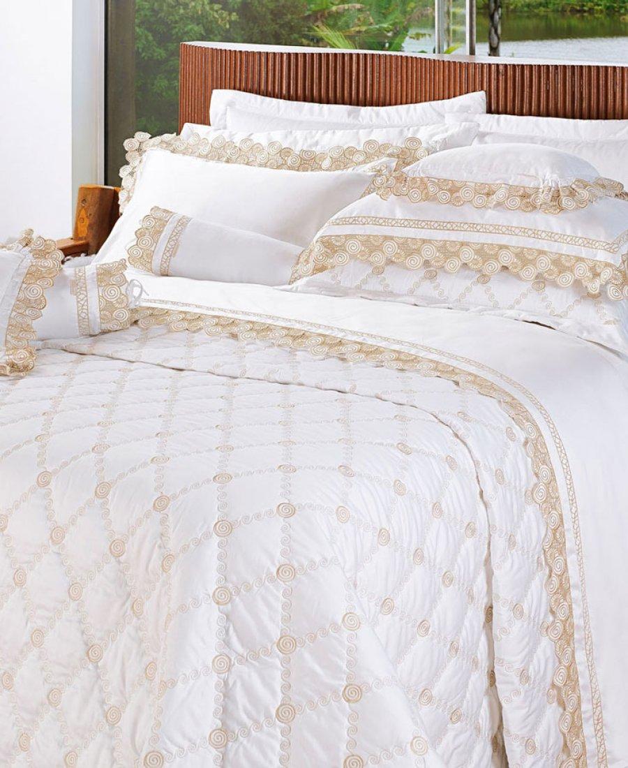 Roupa de Cama / Lençol Savona Queen em Fio Egipicio Percal 400 fios cor Branco Dourado com 4 peças