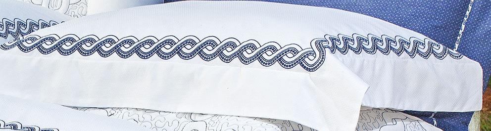 Roupa de Cama / Lençol Trento Queen em Percal Algodão 230 fios - Acetinado cor Azul e Branco com 4 peças