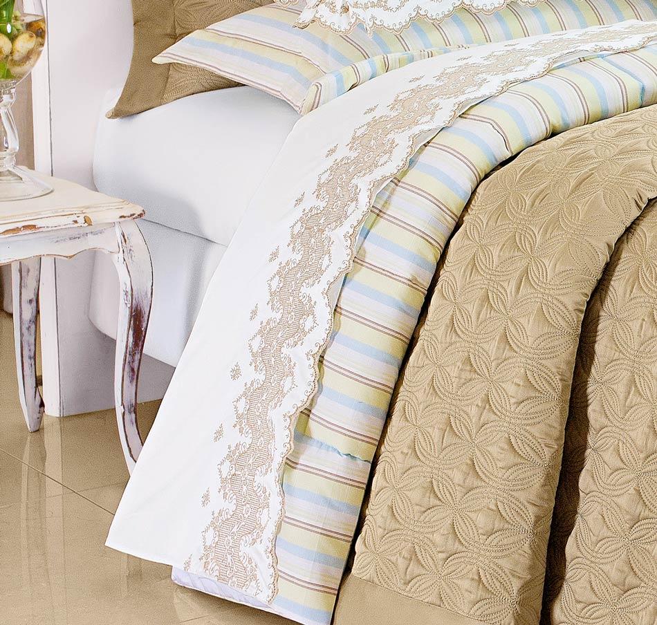 Roupa de Cama / Lençol Tritone Queen em Fio Egipicio Percal 400 fios cor Branco Caqui com 4 peças