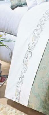 Roupa / Lençol de Cama Casal Branca com detalhe verde Percal 200 fios com 4 peças - Jogo de Lençol Verbena