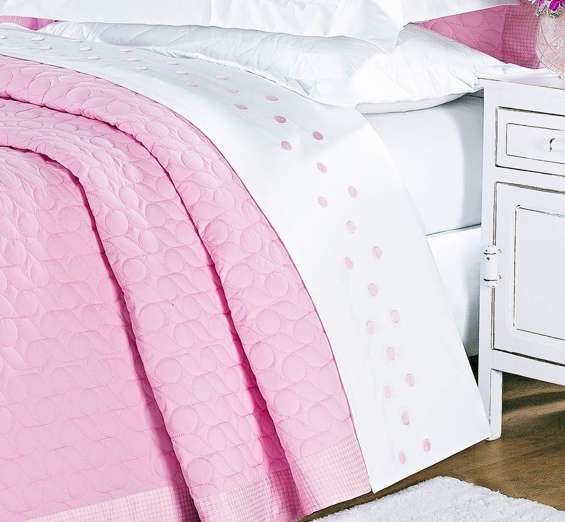 Roupa / Lençol de Cama Queen Branco com Rosa Percal 200 fios com 4 peças - Jogo de Lençol Lacca