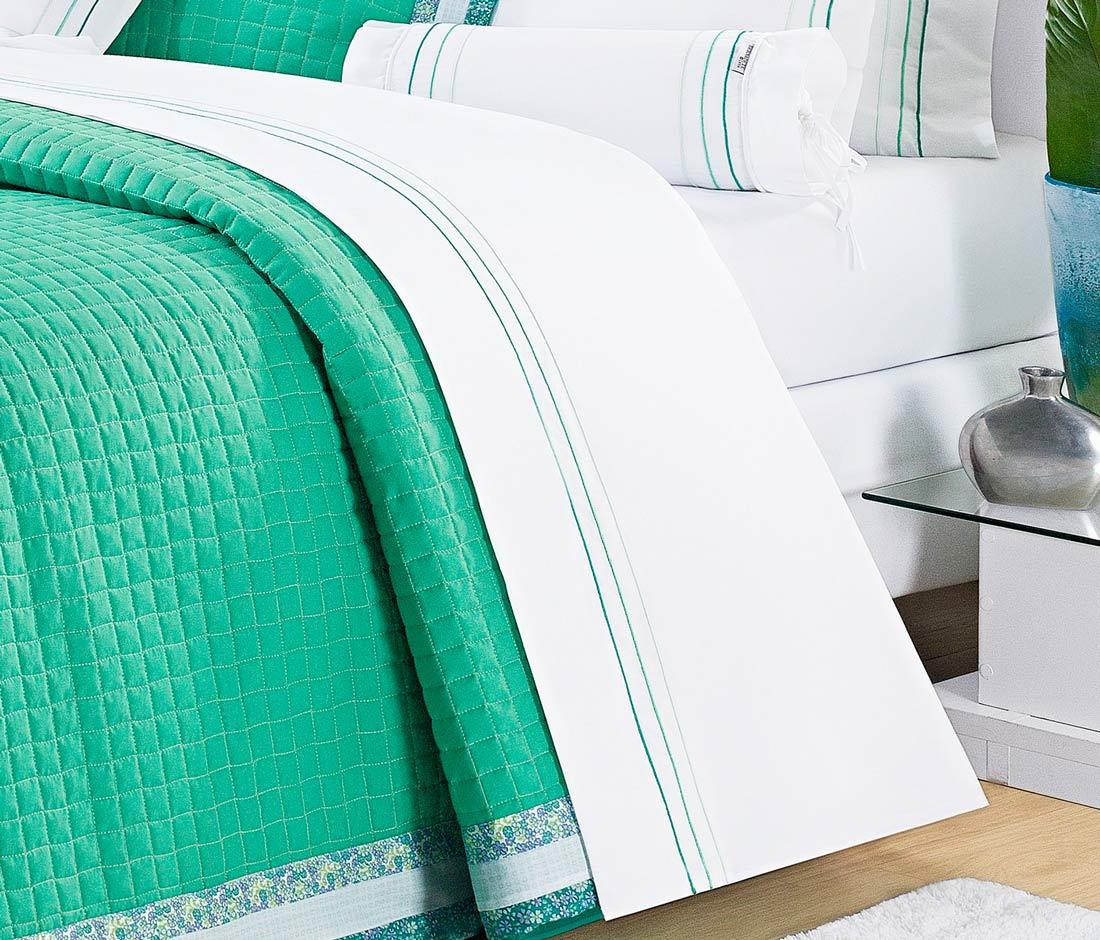 Roupa / Lençol de Cama Queen Branco e Verde Percal 200 fios com 4 peças - Jogo de Lençol Bloom