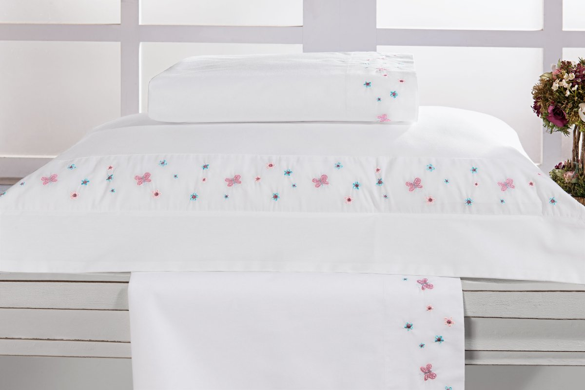 Roupa / Lençol de Cama Solteiro Branco com detalhe flor e borboleta Percal 200 fios com 3 peças - Jogo de Lençol Agatha