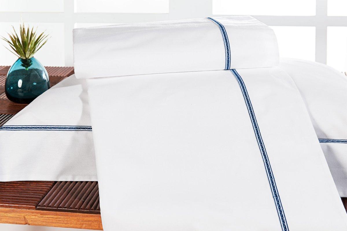 Roupa / Lençol de Cama Solteiro Branco e Azul Percal 200 fios com 3 peças - Jogo de Lençol Triton