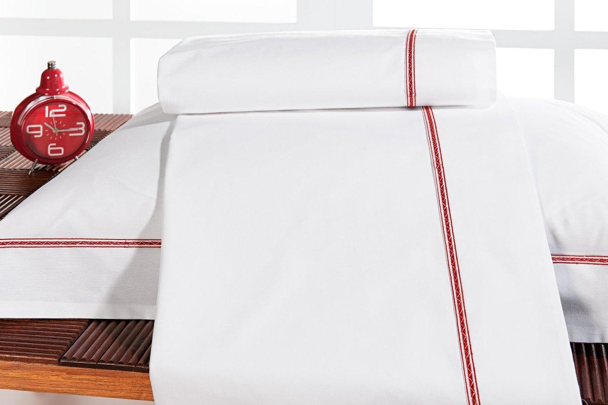 Roupa / Lençol de Cama Solteiro Branco e Vermelho Percal 200 fios com 3 peças - Jogo de Lençol Triton