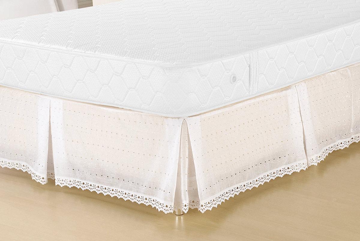 Saia p/ Cama Box Casal Lese Solteiro Saia Box Lese  Branco com 1 peças em Algodão / Poliéster