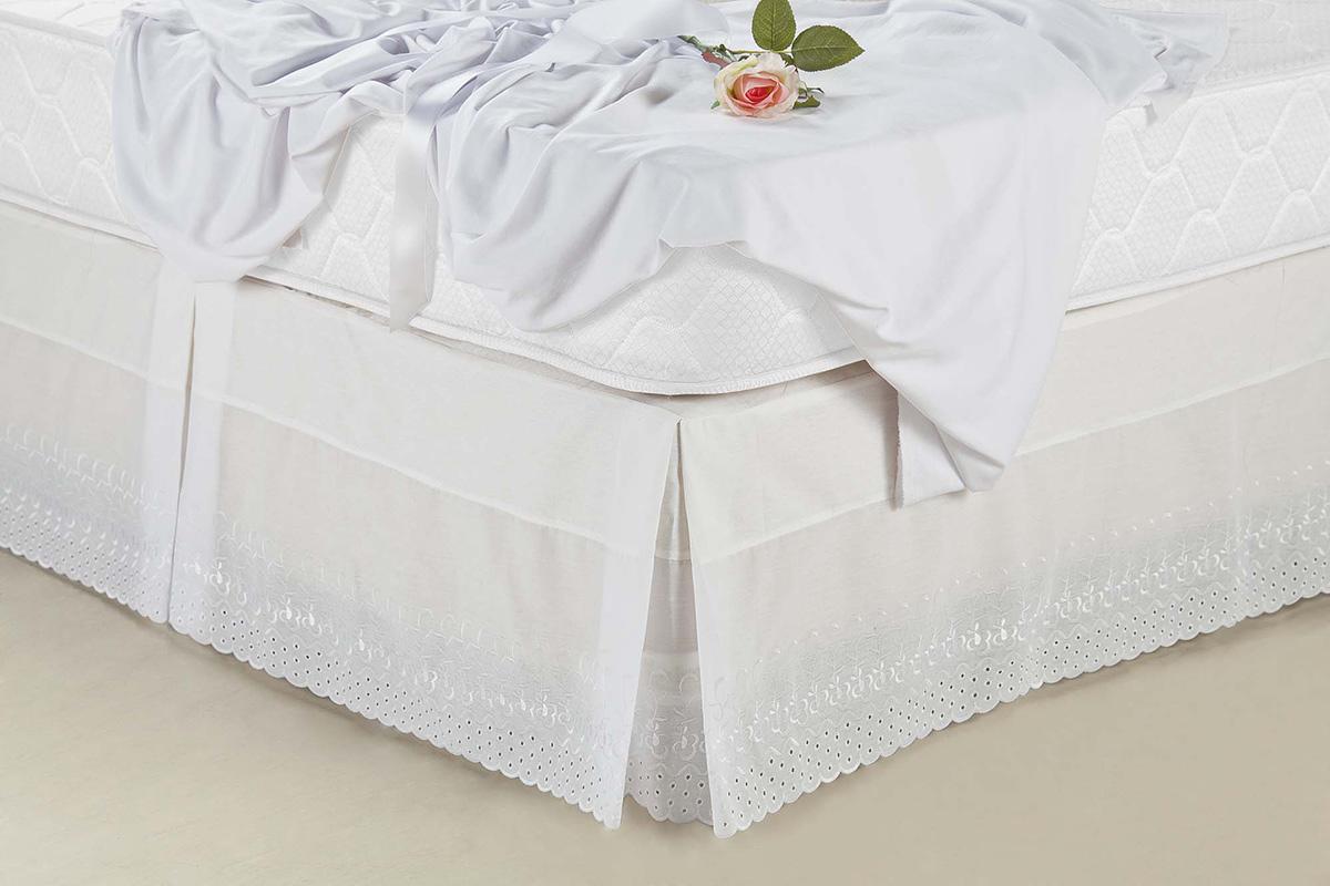 Saia p/ Cama Box Casal  Super King Saia Box Brodery  Branco com 1 peças em 100% Algodão