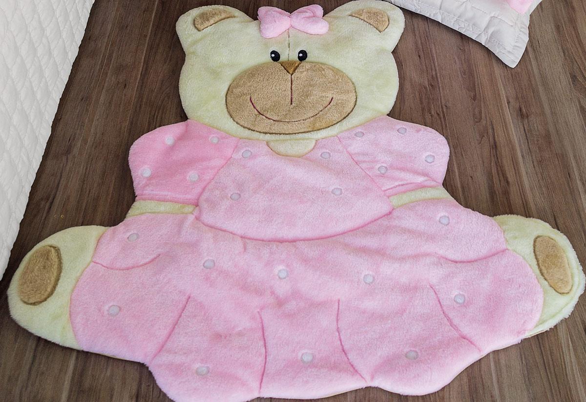 Tapete Infantil Mágico Urso Vestido Rosa Ursinha de vestido rosa com 1 peças
