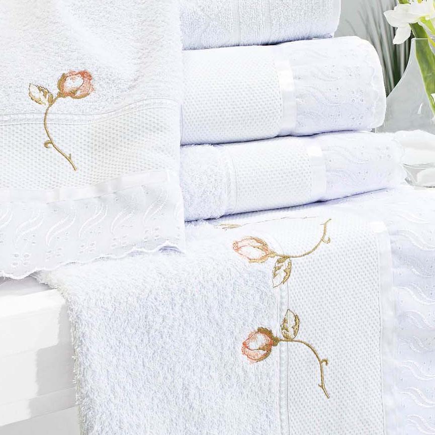Toalha Banho e Rosto Amore Branco Bordado Flor Rosa com 5 peças
