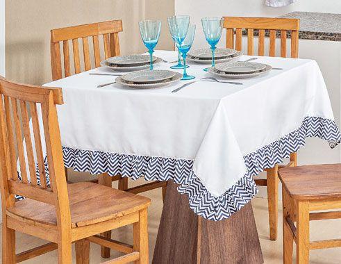 Toalha Quadrada para 04 Cadeiras Chevron 1 peças - Azul