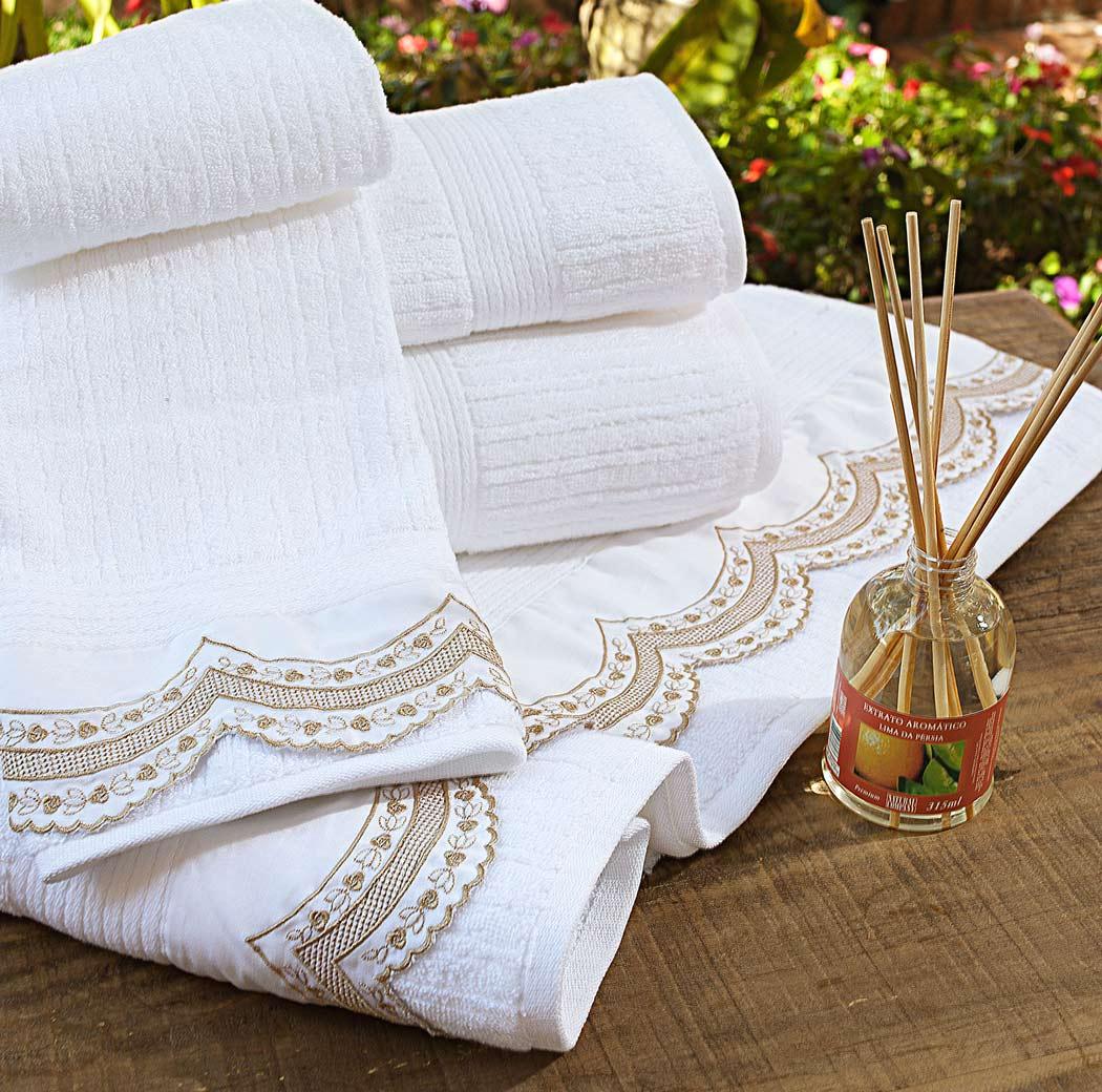 Toalhas de Banho Gigante Giornata cor Dourado e Branco com 5 peças
