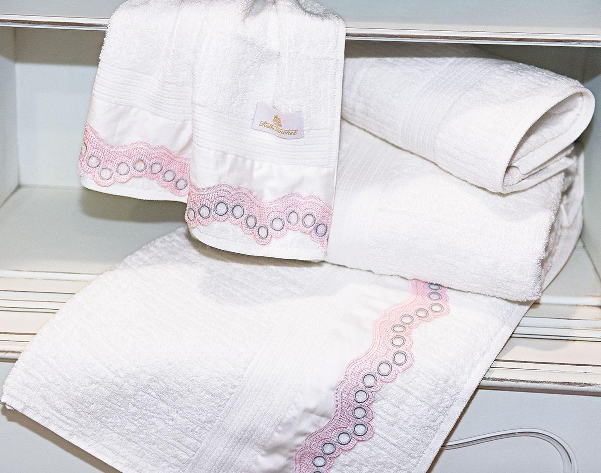 Toalhas de Banho Gigante Mille cor Branco e Rosa com 5 peças