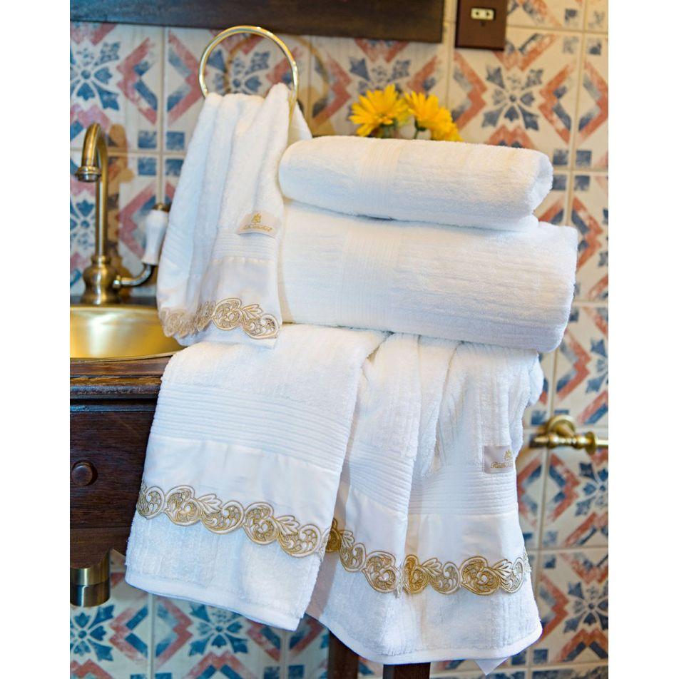 Toalhas de Banho Gigante Molise cor Branco Dourado com 5 peças