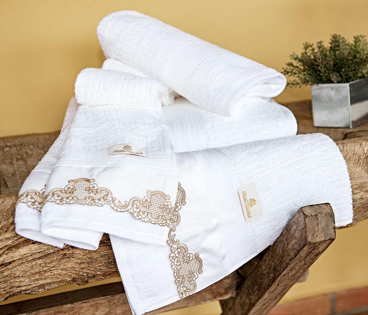 Toalhas de Banho Gigante Pienza cor Branco com 5 peças