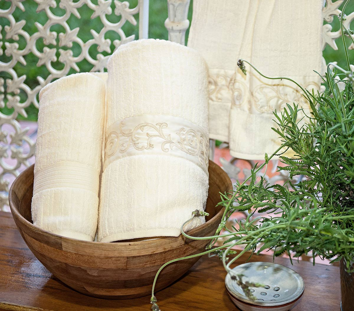 Toalhas de Banho Gigante Sorano cor Palha com 5 peças