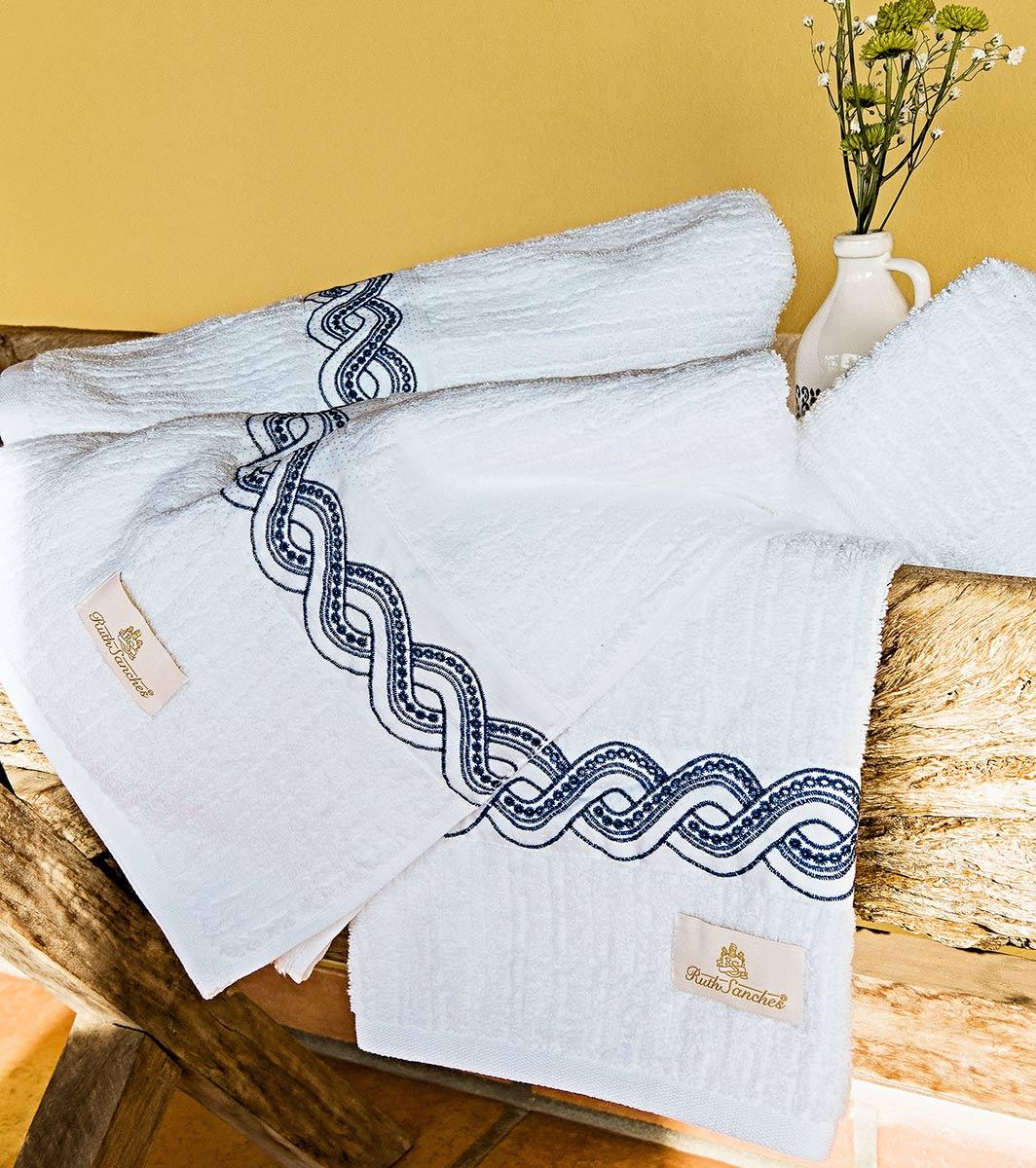 Toalhas de Banho Gigante Trento cor Azul e Branco com 5 peças