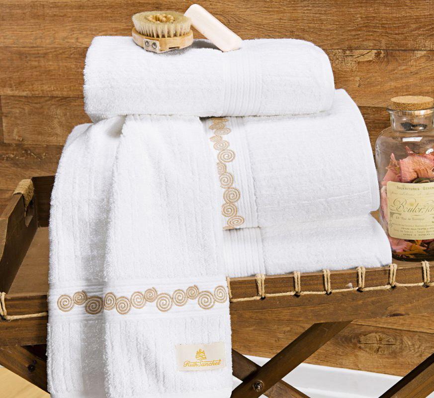 Toalhas de Banho Gigante Varese cor Branco Dourado com 5 peças
