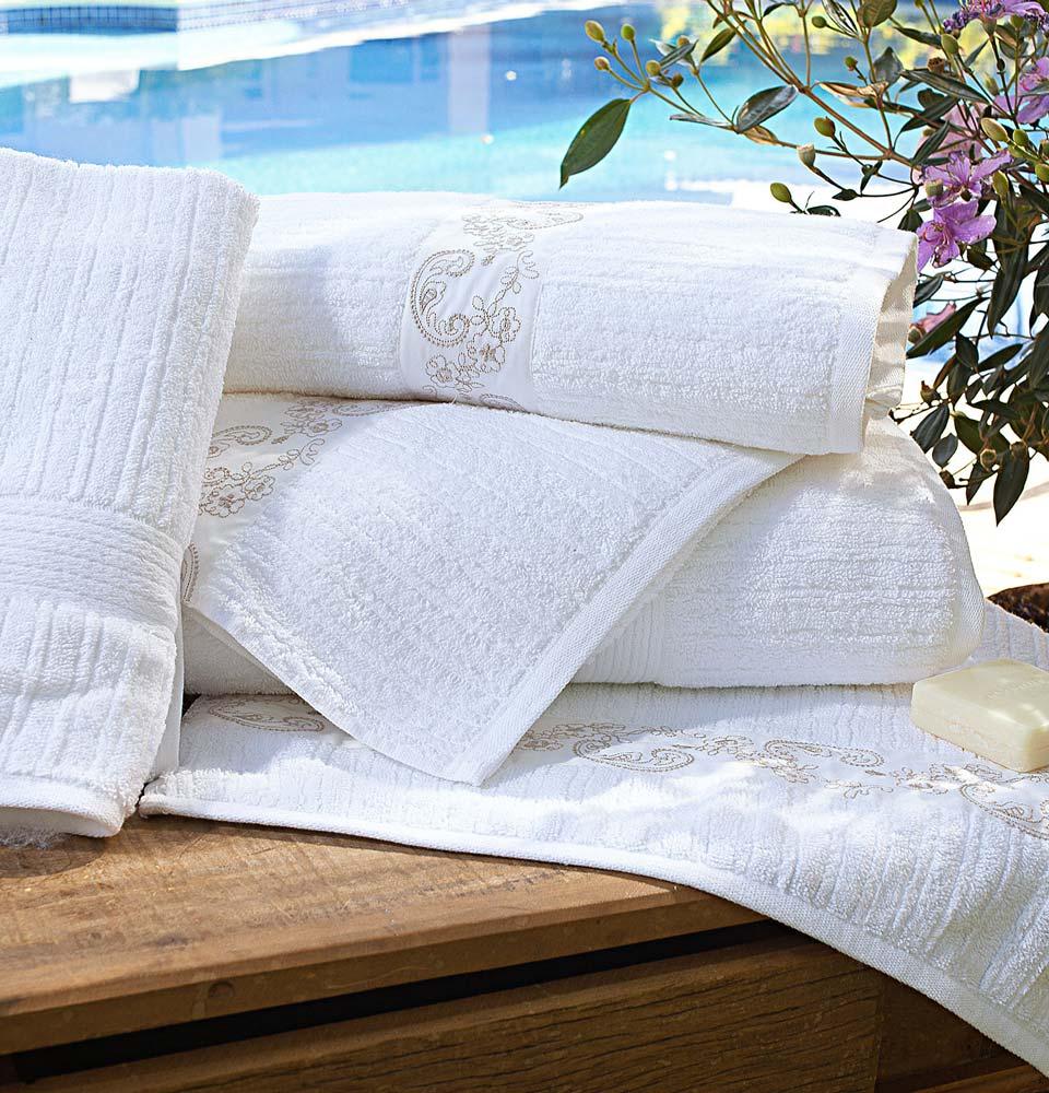Toalhas de Banho Gigante Vietri cor Branco e Palha com 5 peças