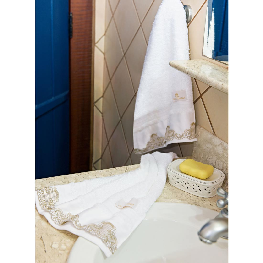 Toalhas Lavabo  Pienza cor Branco com 2 peças