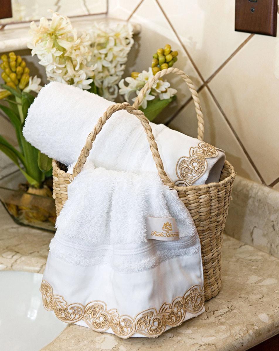 Toalhas Lavabo único Molise cor Branco Dourado com 2 peças