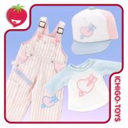 Kikipop! Happy Birthday Overall Set - Pink x Light Blue