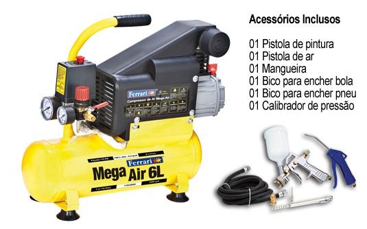 Compressor de Ar Mega Air C-6L + KIT - FERRARI - BIVOLT