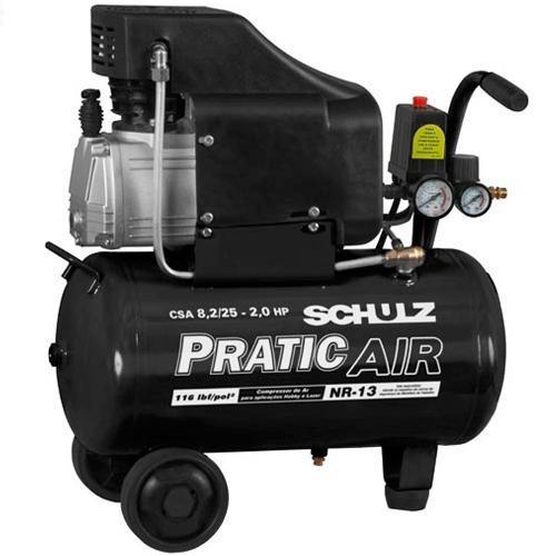 Compressor de Ar - CSA 8,2 25 Litros  -  Pratic Air - SCHULZ - 110V