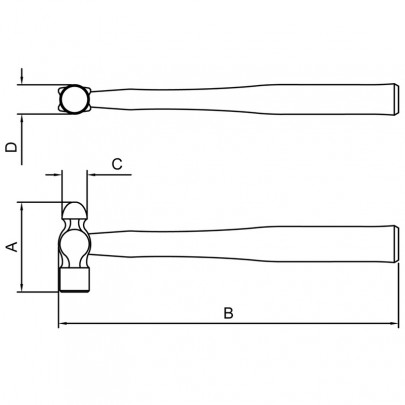 Martelo de Bola Jateado e Envernizado - Basic - 100 GR - 40410004 - TRAMONTINA