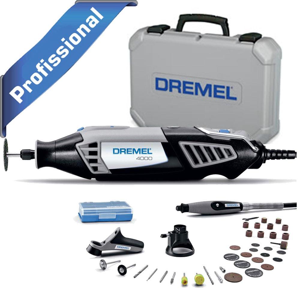 Micro Retífica Dremel - 4000 com 36 Acessórios e 3 Acoplamentos - 220V