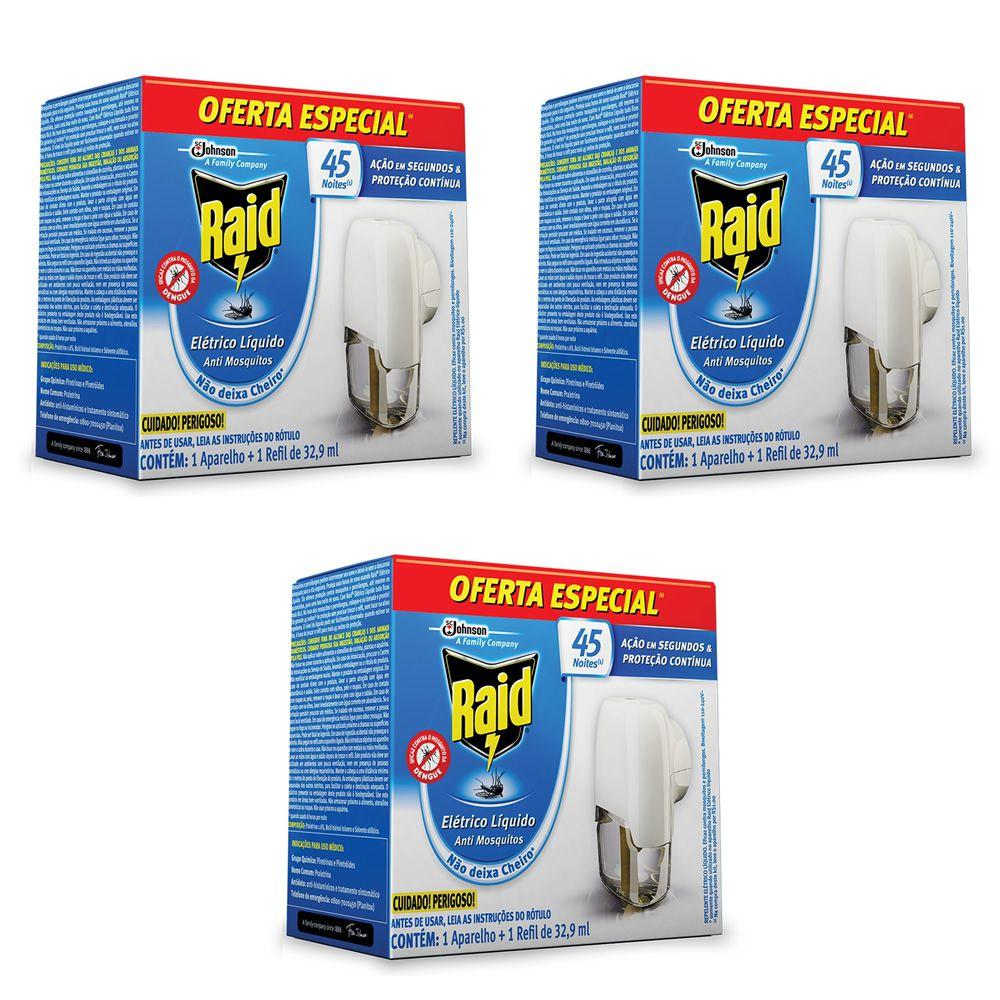 03 Repelente Raid Eletrico Liquido Mata Mosquitos 45 Noites com 3 Aparelhos + 3 Refil de 32,90 ml