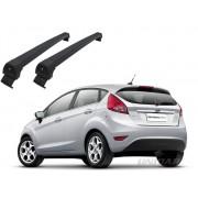 Rack teto bagageiro New Fiesta Hatch / Sedan 2011 em diante Long Life Modelo Aluminio Preto