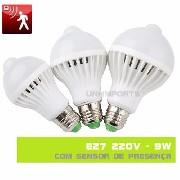 Lampada Led Residencial 9w 220v Com Sensor De Presença Movimento Encaixe tipo E27