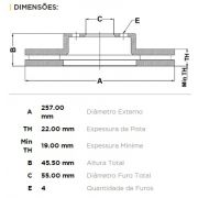 Kit Disco + Pastilha Freio Dianteiro Toyota Etios Yaris 2012 em Diante