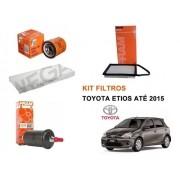 Kit Filtro Ar + Cabine + Oleo + Combustivel Toyota Etios 1.3 1.5 2013 a 2015