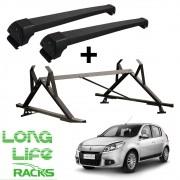 Kit Rack Aluminio Sports Longlife + Porta Escadas Sandero Ate 2014